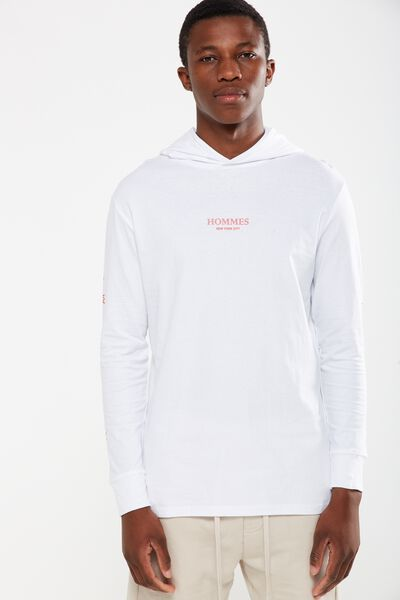 Hooded Long Sleeve, WHITE/HOMME NYC
