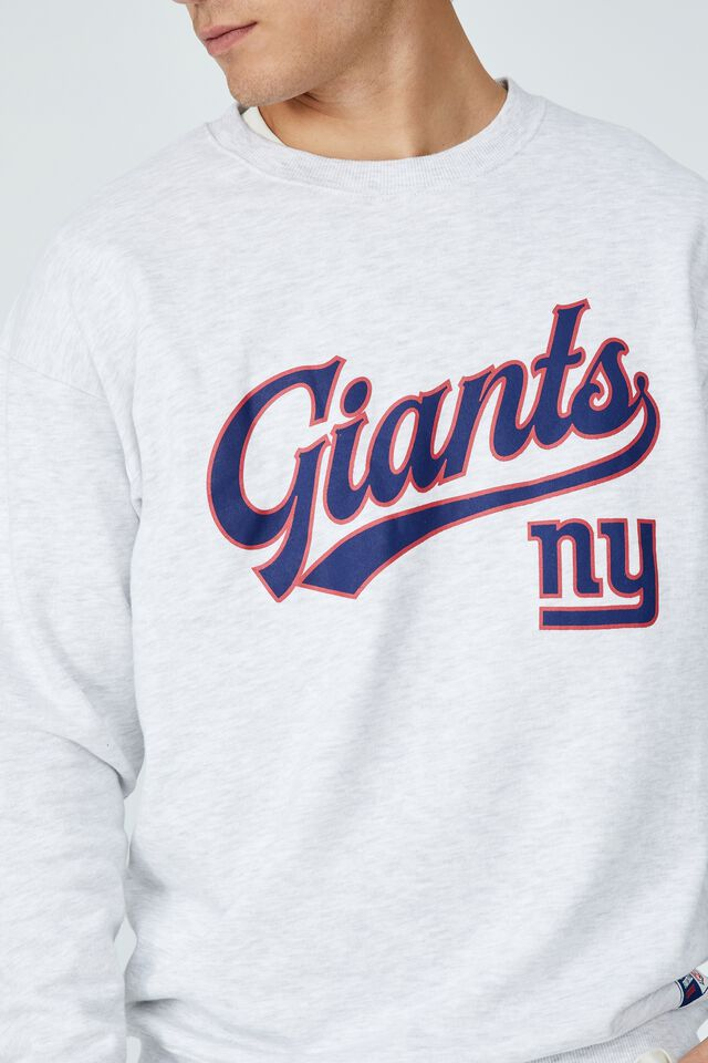 Active Collab Oversized Crew Fleece, LCN NFL ATHLETIC MARLE / NEW YORK GIANTS SCRI