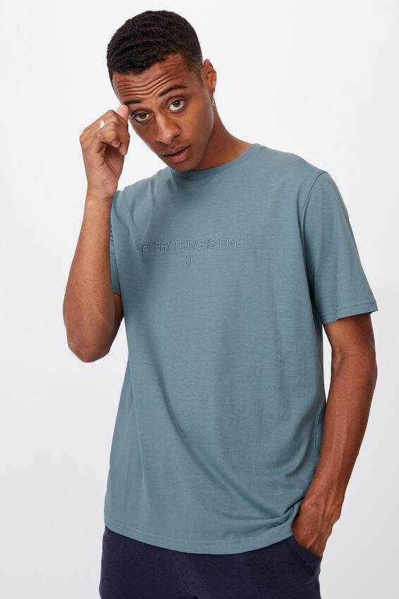 Tbar Text T-Shirt, ADRIATIC BLUE/EVERYTHING IS FINE