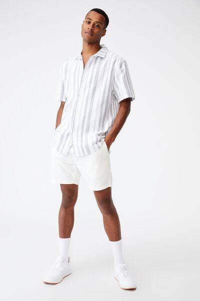 Textured Short Sleeve Shirt, WHITE DOT STRIPE