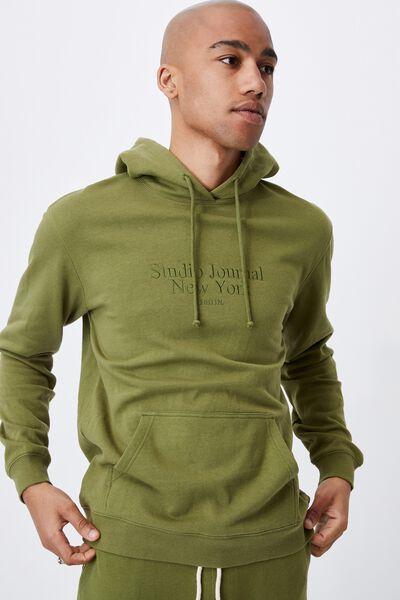 Graphic Fleece Pullover, GRASS GREEN/STUDIO JOURNAL