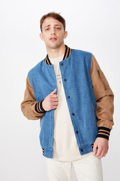 Vintage Denim Bomber, DENIM TAN