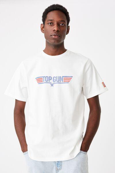 Tbar Collab Movie And Tv T-Shirt, LCN PAR VINTAGE WHITE/TOPGUN - LOGO