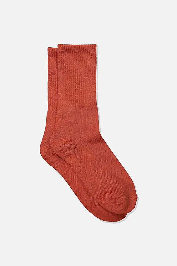 Single Pack Active Socks, BURNT RED