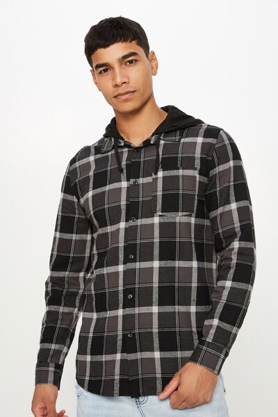Rugged Hooded Shirt, BLACK GREY TONAL CHECK
