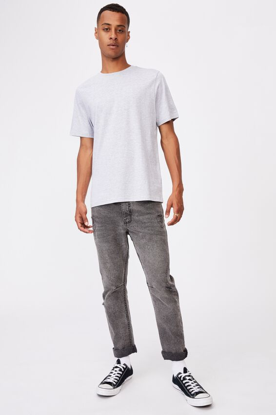 Essential Crew T-Shirt, LIGHT GREY MARLE