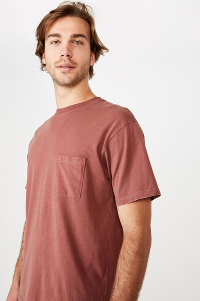Washed Pocket Tee, AGED WINE