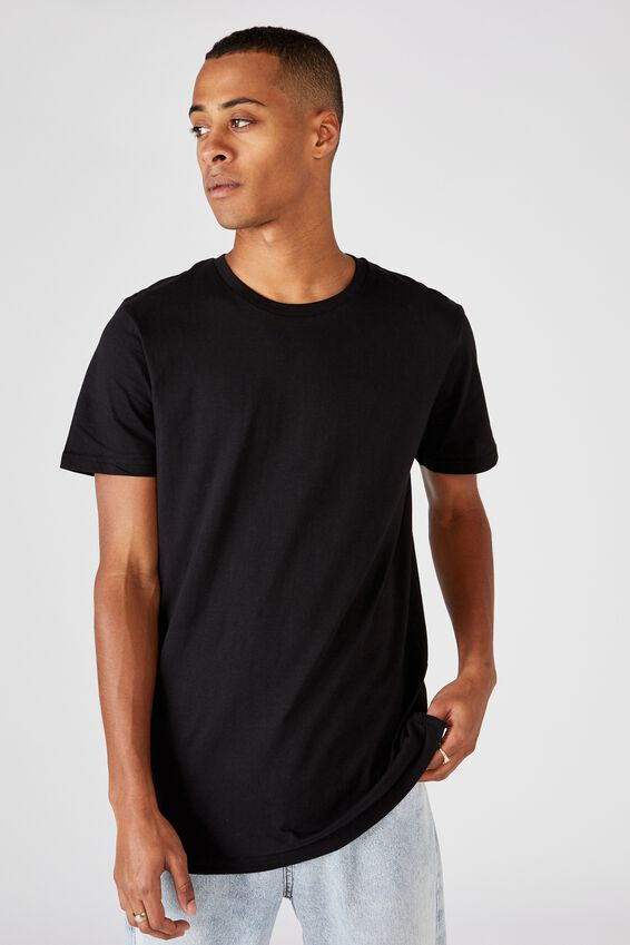 Essential Longline Scoop Tee, BLACK