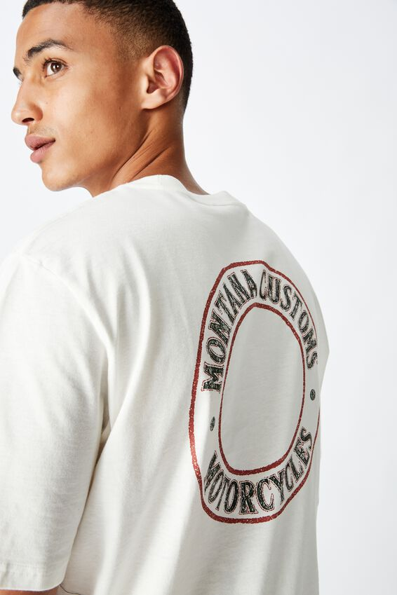 Tbar Moto T-Shirt, SK8 VINTAGE WHITE/MONTANA CUSTOMS CIRCLE