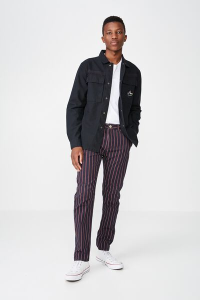 Knox Chino Pant, NAVY RED STRIPE
