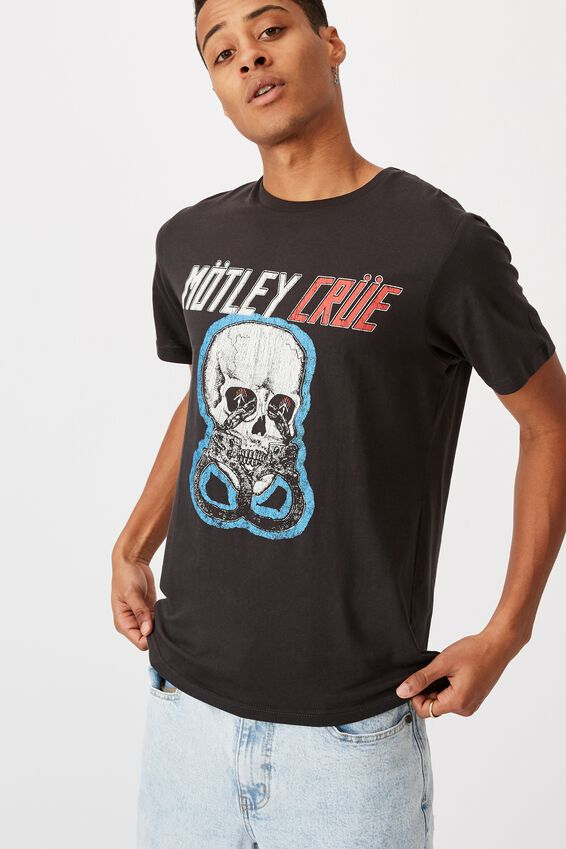Tbar Collab Music T-Shirt, LCN EP WASHED BLACK/MOTLEY CRUE-SKULL