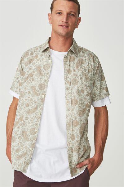 Vintage Prep Short Sleeve Shirt, NATURAL MANDALA PAISLY