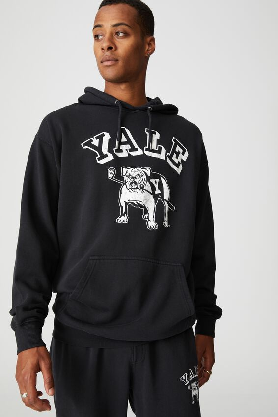 Premium Collab Fleece Pullover, LCN YAL WASHED BLACK/YALE-VINTAGE BULLDOG