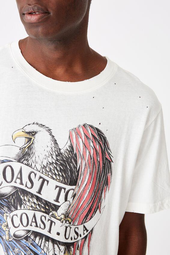 Bondi Tee, SK8 VINTAGE WHITE/COAST TO COAST USA