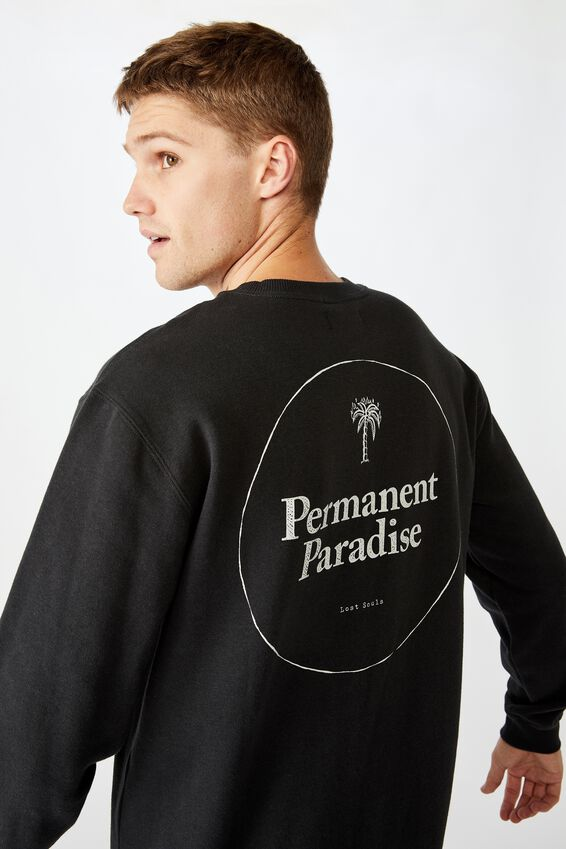 Crew Fleece 2, WASHED BLACK PERMANENT PARADISE