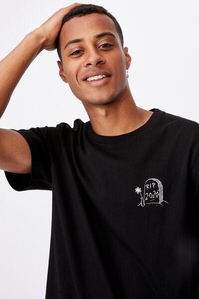 Tbar Text T-Shirt, BLACK/RIP 2020
