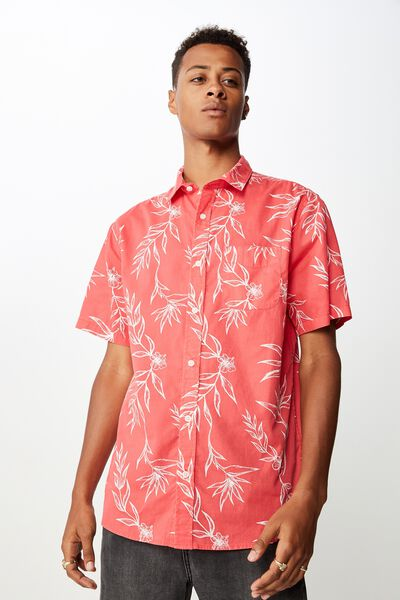 Short Sleeve Resort Shirt, RED HAND DRAWN FLORAL