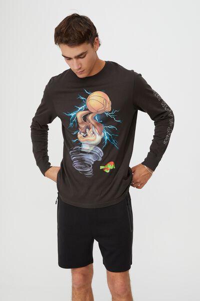 Tbar Collab Long Sleeve T-Shirt, LCN WB WASHED BLACK/SPACE JAM-TAZ TORNADO