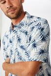 Short Sleeve Resort Shirt, WHITE LEAFY FRONDS