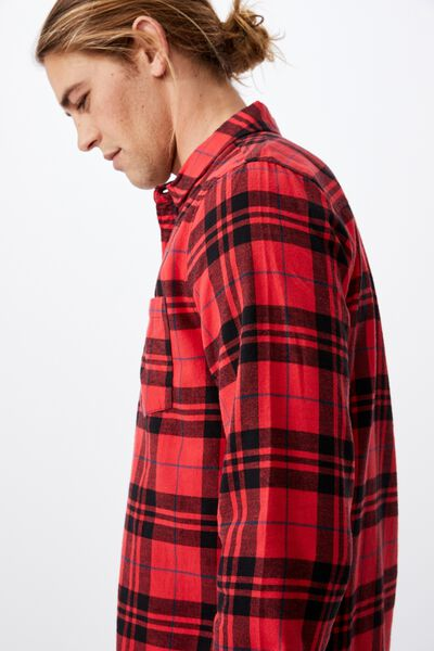 Washed Long Sleeve Check Shirt, BLACK RED CHECK