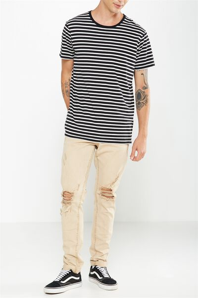 Slim Fit Jean, OVER DYE STONE + RIPS