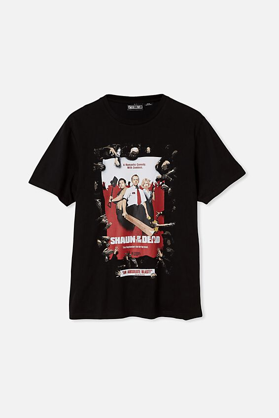 Tbar Collab Movie And Tv T-Shirt, LCN UNI BLACK/SHAUN OF THE DEAD-POSTER