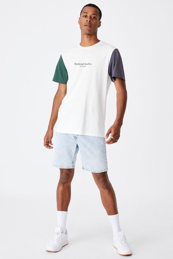 Tbar Text T-Shirt, VINTAGE WHITE/LATE NIGHT BLUE/FOREST/WEEKEND