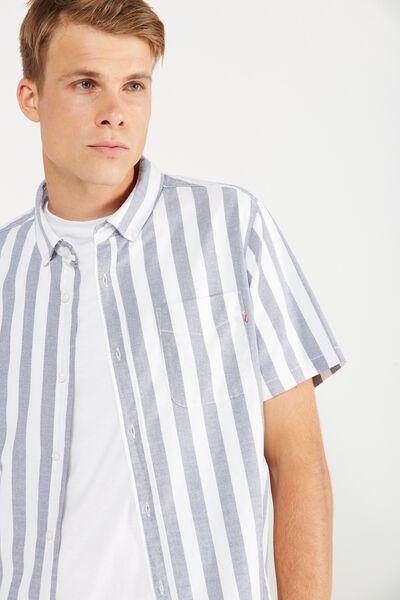 Vintage Prep Short Sleeve Shirt, WHITE/DENIM STRIPE