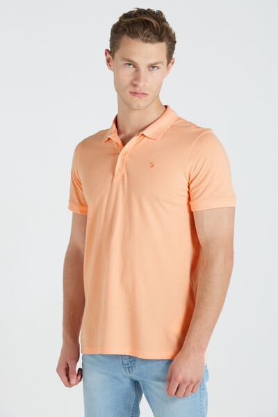 Short Sleeve Icon Polo Regular Fit, APRICOT/MARLIN