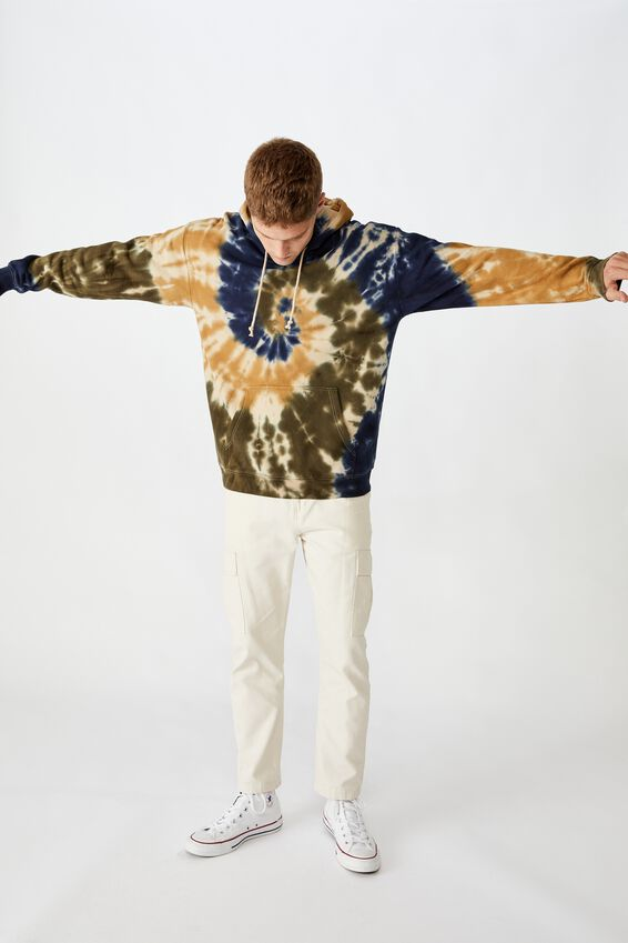 Drop Shoulder Pullover Fleece, EARTH TIE DYE