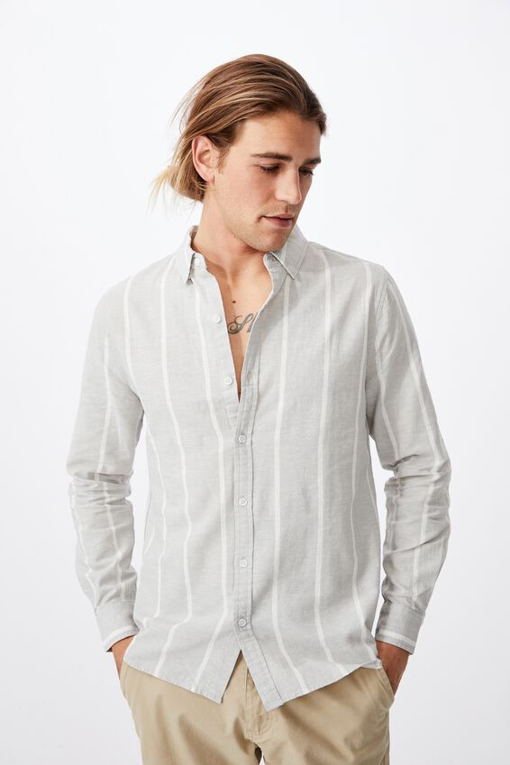 Linen Cotton Long Sleeve Shirt, GREY WHITE STRIPE