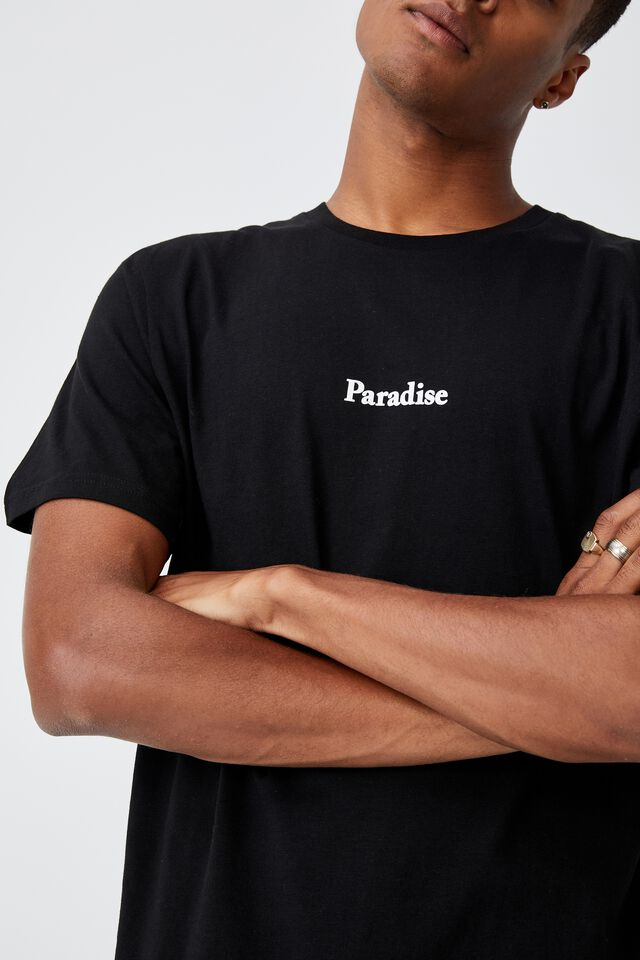 Tbar Text T-Shirt, BLACK/PARADISE