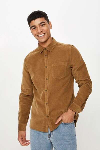 Rugged Long Sleeve Shirt, TAN CORD