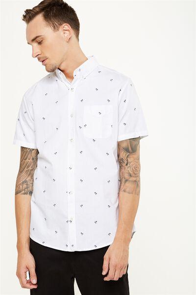 Vintage Prep Short Sleeve Shirt, WHITE OXFORD DITSY PRINT
