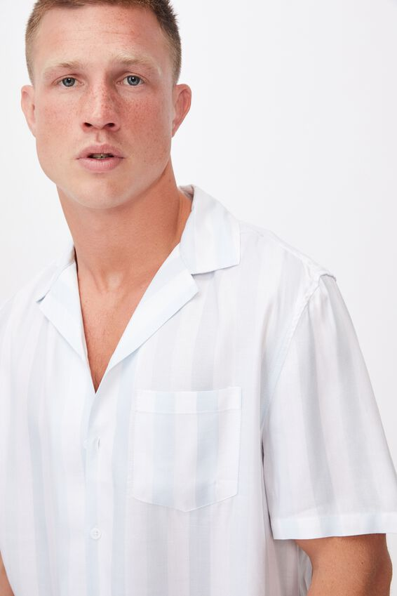 Textured Short Sleeve Shirt, BLUE 50/50 STRIPE