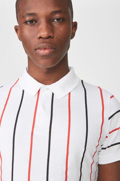 Icon Polo, WHITE BLACK RED STRIPE