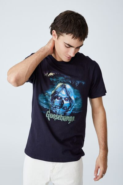 Tbar Collab Pop Culture T-Shirt, LCN SON INK NAVY/GOOSEBUMPS - CAMP COLD LAKE