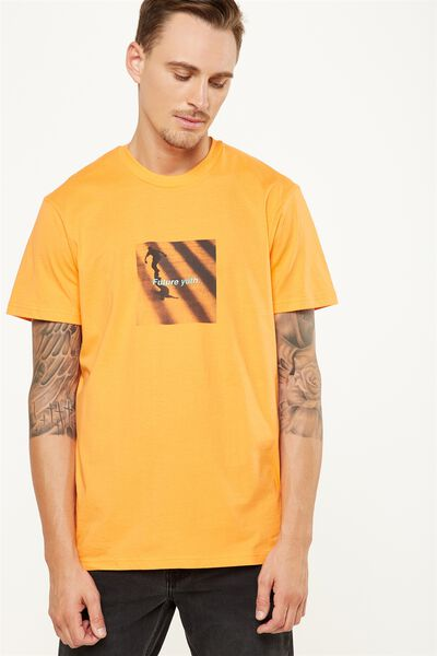 Tbar Tee 2, CALI ORANGE/SKATE FUTURE YUTH