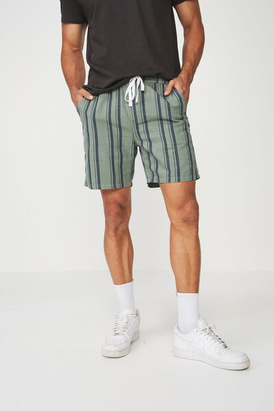 Easy Short, SAGE/NAVY/STRIPE TEXTURE