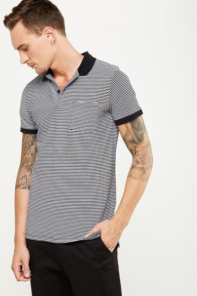 Icon Polo, BLACK/WHITE STRIPE SLIM