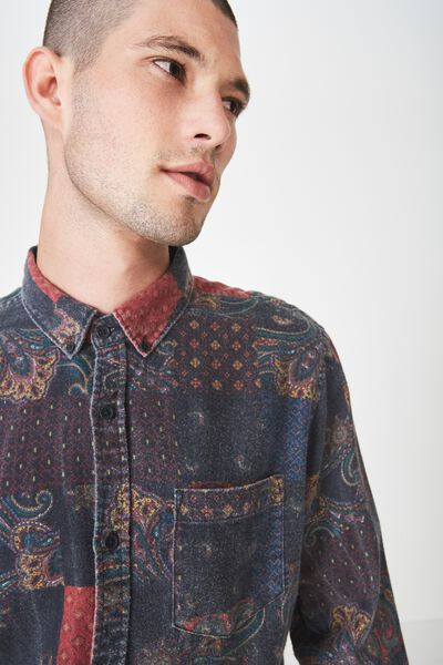 Long Sleeve Printed Flannel Shirt, PAISLY PATCH