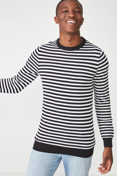 Lightweight Crew Sweater, BLACK/WHITE STRIPE
