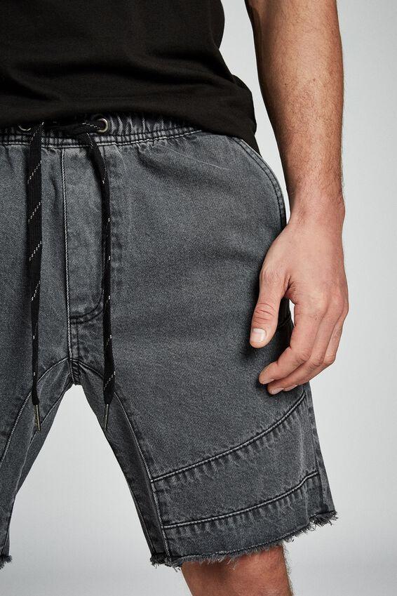 Customised Denim Short, GUNMETAL BIKER