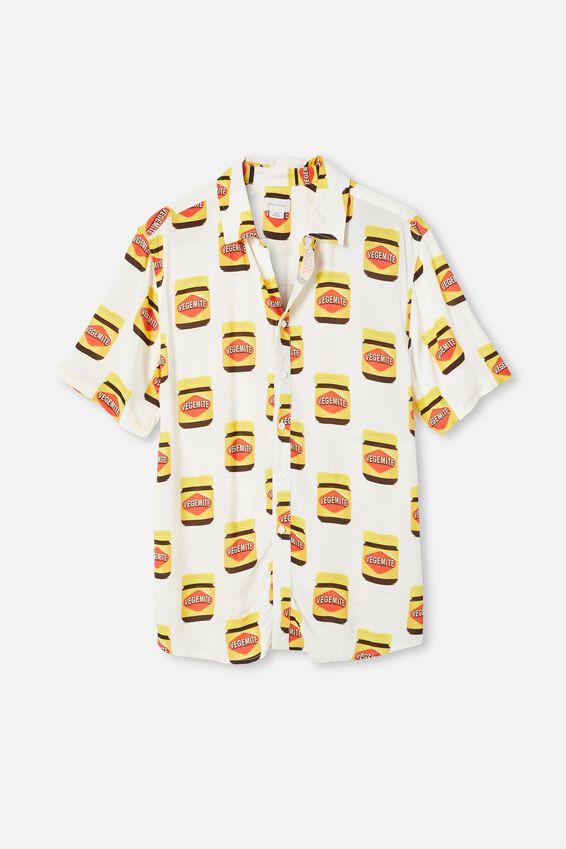 Short Sleeve Collab Shirt, LCN VEGEMITE WHITE