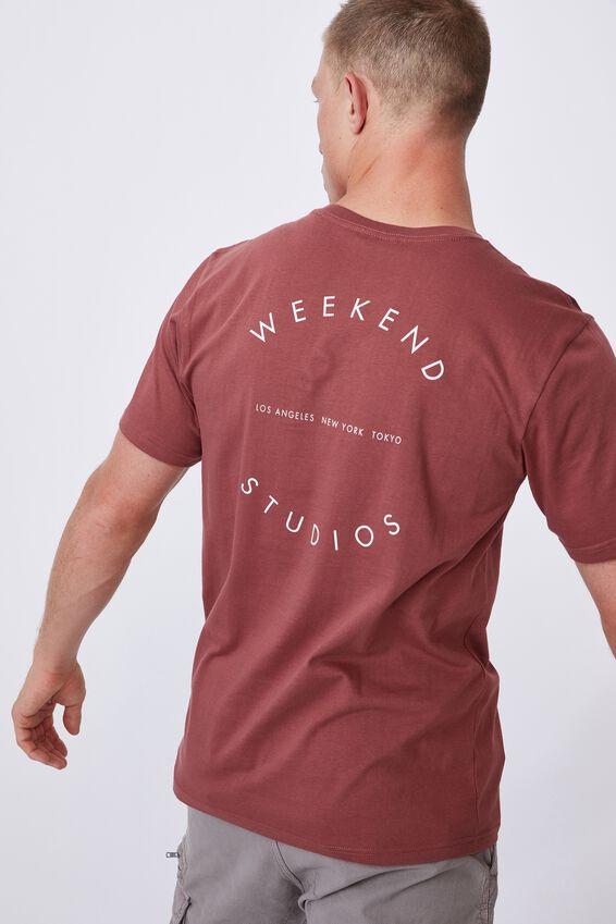 Tbar Text T-Shirt, OX BLOOD/WEEKEND COMPASS