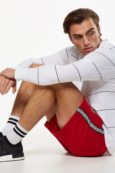 Volley Jogger Short, RED / SPORTS STRIPE