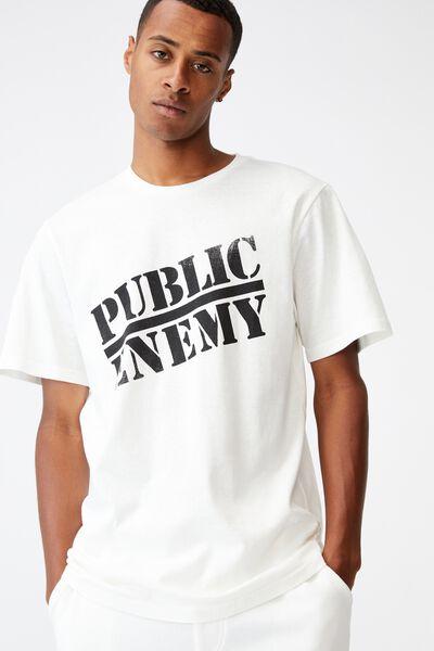 Tbar Collab Icon T-Shirt, LCN BRA VINTAGE WHITE/PUBLIC ENEMY-LOGO