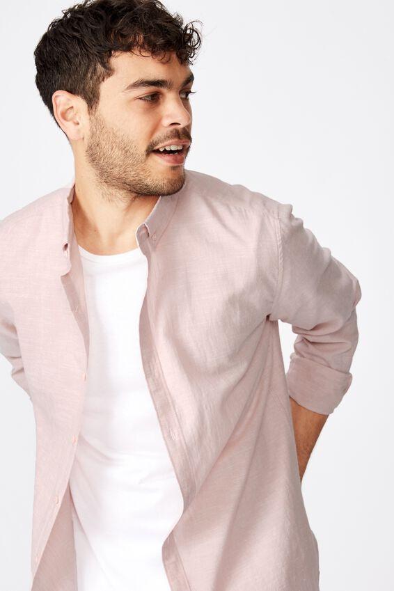 Premium Linen Cotton Long Sleeve Shirt, DUSTY PINK