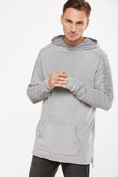 Moto Fleece Pullover, OVERCAST GREY ACID