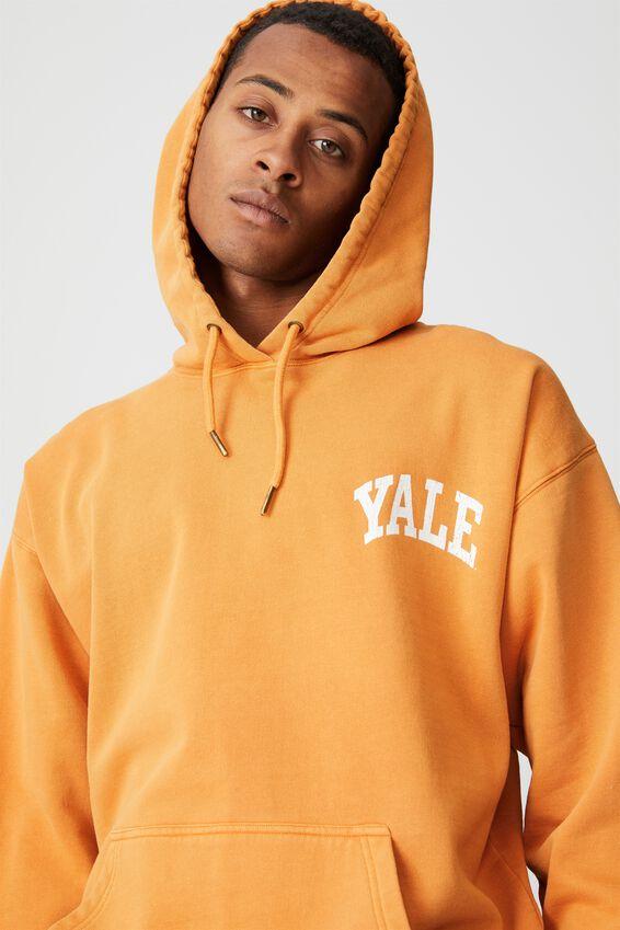 Premium Collab Fleece Pullover, LCN YAL BUCKSKIN GOLD/YALE-VINTAGE LOGO